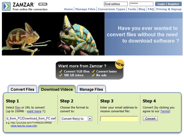Dougs pd wiki using zamzar to collect movies offline click on the download videos tab and enter the full url to the move you wish to download ccuart Gallery